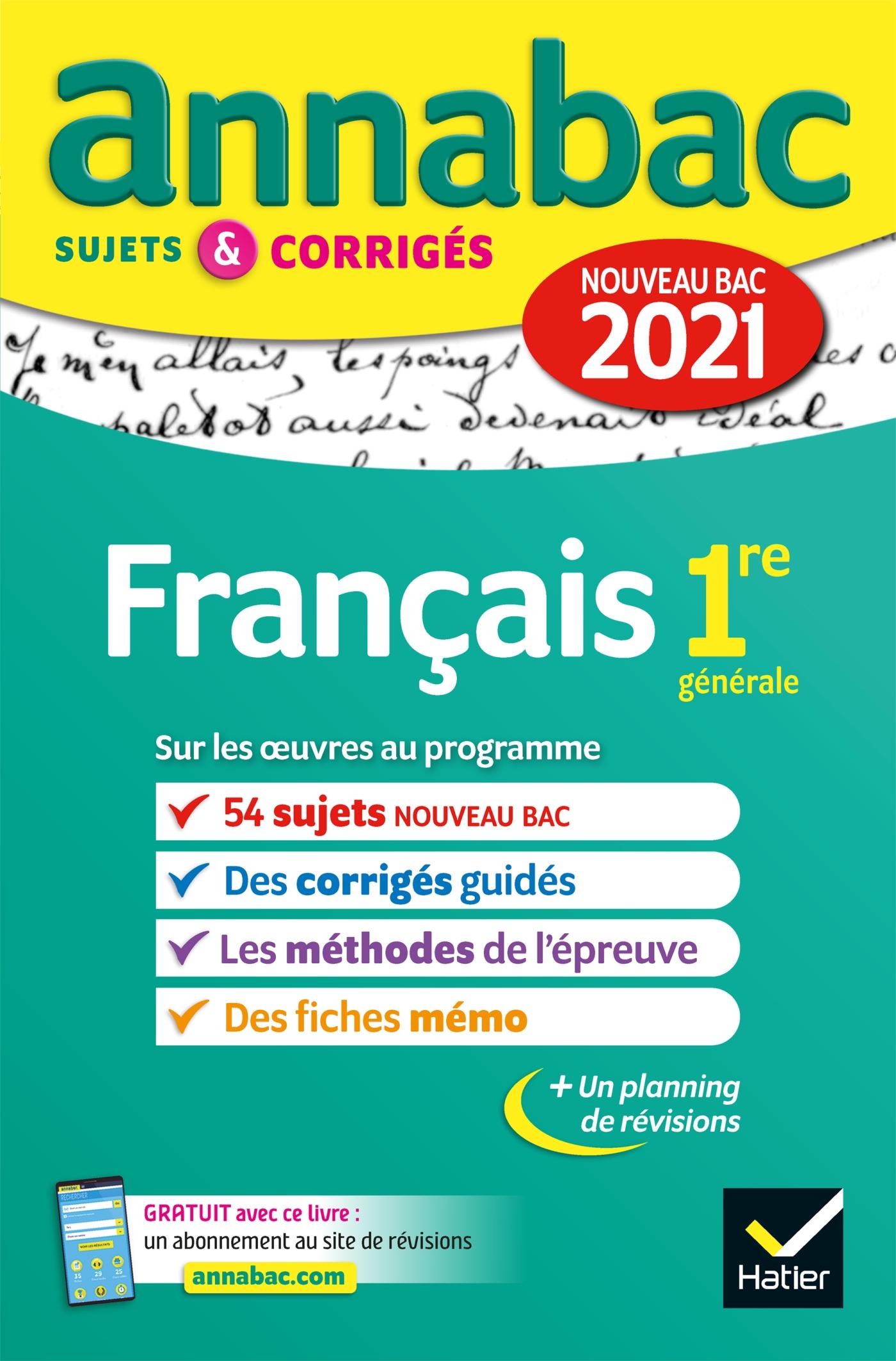 Annales du bac Annabac 2021 Français 1re générale | Bernard, Hélène. Auteur